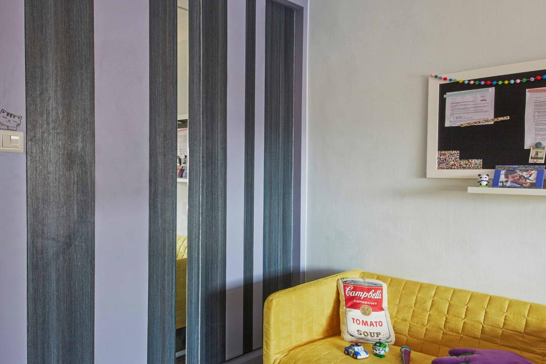 Jurong West (Block 639), i-Chapter, Eclectic, Industrial, Bedroom, HDB, Sofa, Couch, Yellow Sofa, Yellow, Building, Housing, Indoors, Curtain, Home Decor