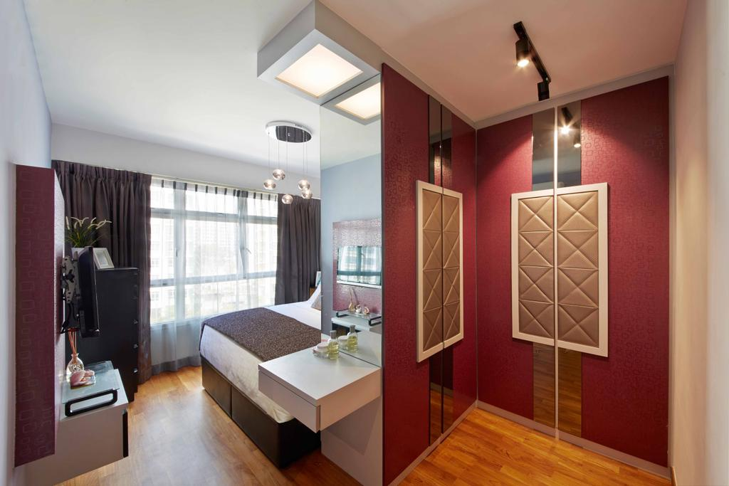 Eclectic, HDB, Bedroom, Yishun Ring Road (Block 342D), Interior Designer, i-Chapter, Partition, Wardrobe, Fancy, Reflective, Reflective Panels, Red, Red Colour, Indoors, Interior Design, Coffee Table, Furniture, Table
