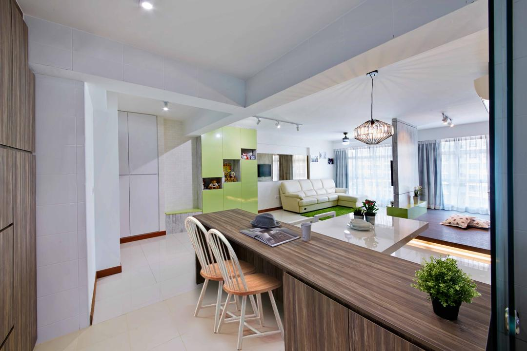 Yishun Ring Road (Block 342D), i-Chapter, Eclectic, Dining Room, HDB, Kitchen Peninsula, Wood Grain, Dark Wood, Wood Laminates, Striped Wood Grain, Pendant Lamp, Hanging Lamp, Flora, Jar, Plant, Potted Plant, Pottery, Vase, Dining Table, Furniture, Table, Indoors, Interior Design, Room, Kitchen