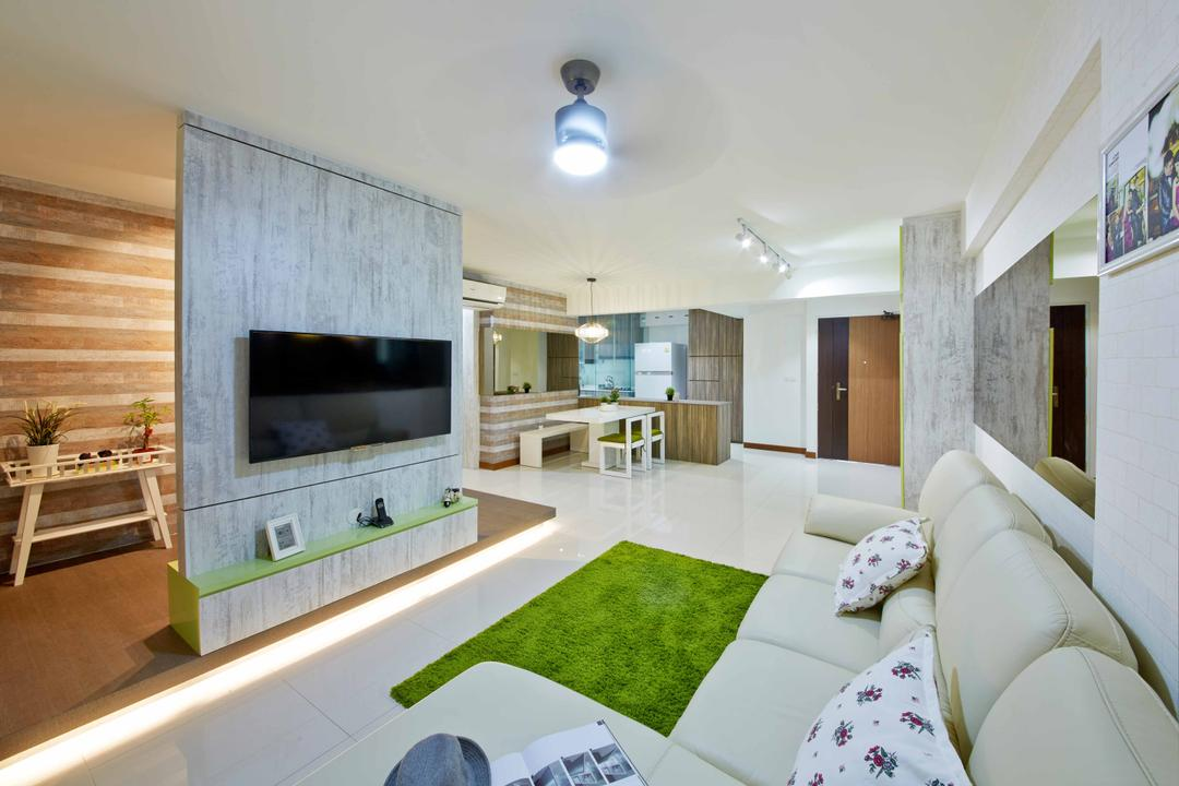 Yishun Ring Road (Block 342D), i-Chapter, Eclectic, Living Room, HDB, Platform, Feature Wall, Partition, Tv Console, Carpet, L Shaped Sofa, Sofa, Leather Sofa, Ceiling Fan With Light, Open Concept, Open Space, Couch, Furniture, Bench, Indoors, Room, Interior Design, Kitchen, Fireplace, Hearth