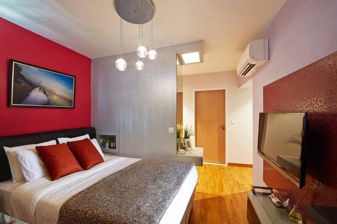 Yishun Ring Road (Block 342D), i-Chapter, Eclectic, Bedroom, HDB, Bed Runner, Red, Red Walls, Wood Floor, Wooden Flooring, Tv Cabinet, Wall Mounted Tv, Pendant Lamp, Hanging Lamp, Aircon, Human, People, Person, Indoors, Interior Design, Room, Flooring