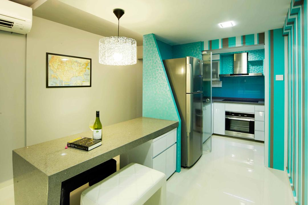 Marine Crescent, i-Chapter, Eclectic, Dining Room, HDB, Dining Table, Bench, Blue Walls, Kitchen Peninsula, Refrigerator, Kitchen Cabinet, Built In Oven, Exhaust Hood, Bottle, Sink, Molding