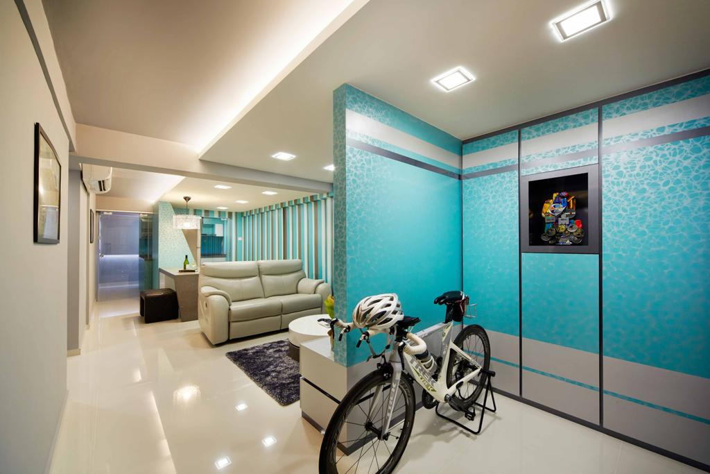 Eclectic, HDB, Living Room, Marine Crescent, Interior Designer, i-Chapter, Partition, Shoe Cabinet, Entrance, Entryway, Concealed Lighting, , Colours, Indoors, Room, Bicycle, Bike, Transportation, Vehicle