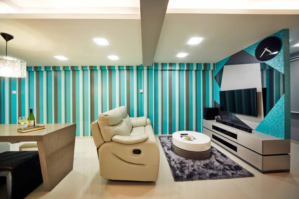 Eclectic, HDB, Living Room, Marine Crescent, Interior Designer, i-Chapter, Blue, Blue Walls, Funky, Quirky, Colourful, Stripes, Striped Wallpaper, Feature Wall, Geometric, Tv Console, Coffee Table, Carpet, Sofa, Leather Sofa, Downlight, Striking, Colour Pop, Indoors, Interior Design