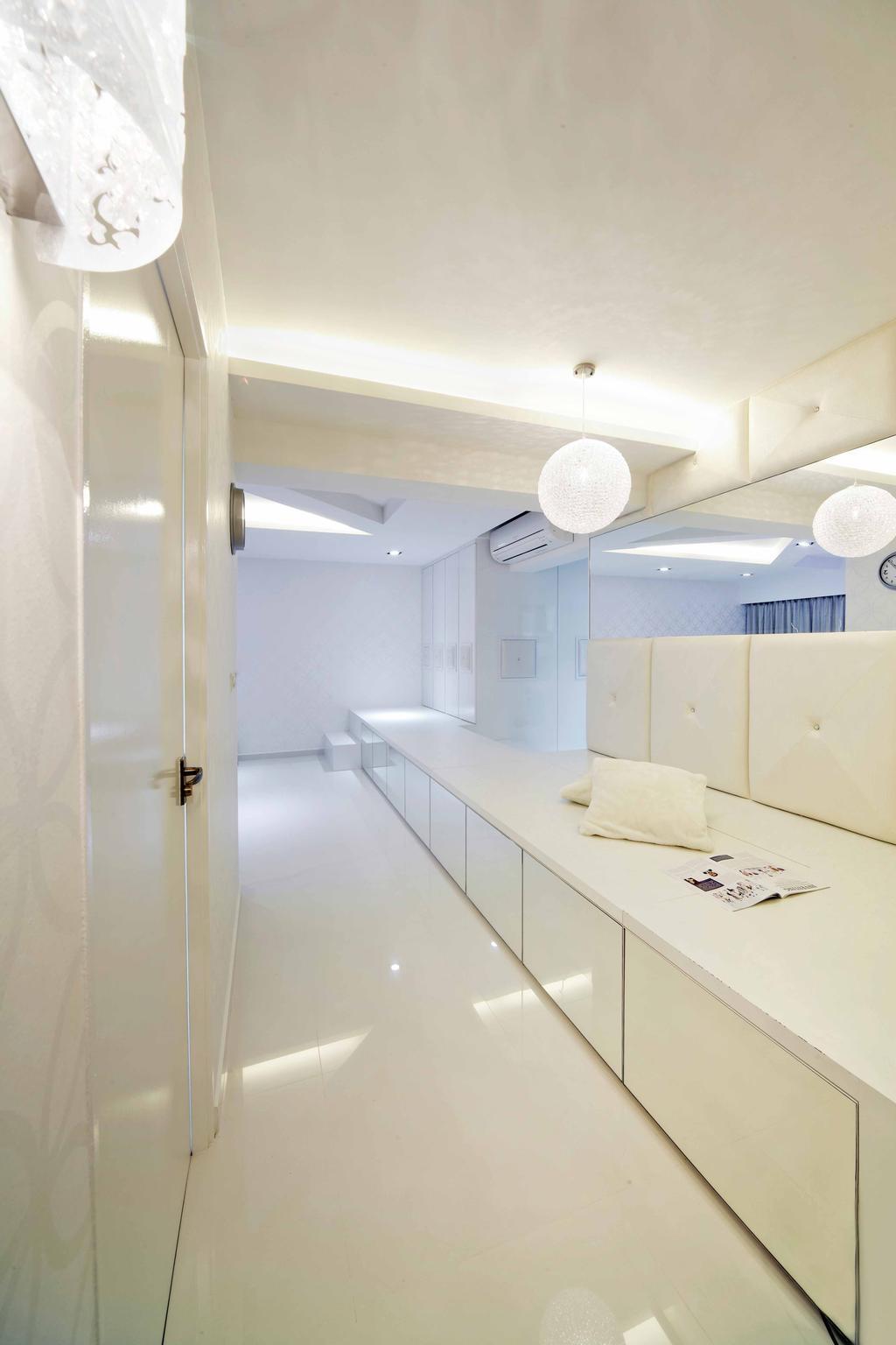 Minimalistic, HDB, Punggol Drive (Block 615B), Interior Designer, i-Chapter, Platform, Storage Space, Storage Ideas, Mirror, Pendant Lamp, Hanging Lamp, Round Pendant Lamp, All White