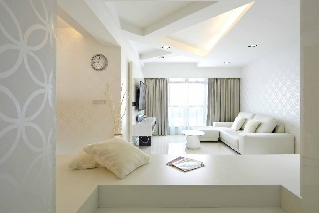 Punggol Drive (Block 615B), i-Chapter, Minimalistic, Living Room, HDB, Platform, Raised Platform, Indoors, Interior Design