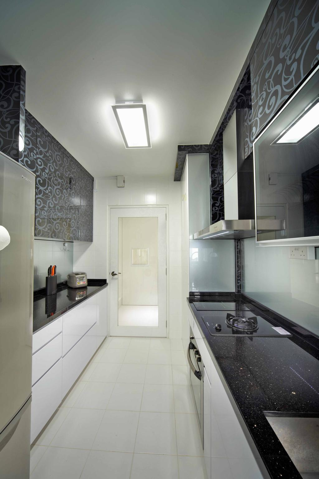 Minimalistic, HDB, Kitchen, Punggol Drive (Block 615B), Interior Designer, i-Chapter, Kitchen Cabinet, Cabinetry, Black And White, Monochrome, Black Countertop, Black Cabinet, Exhaust Hood