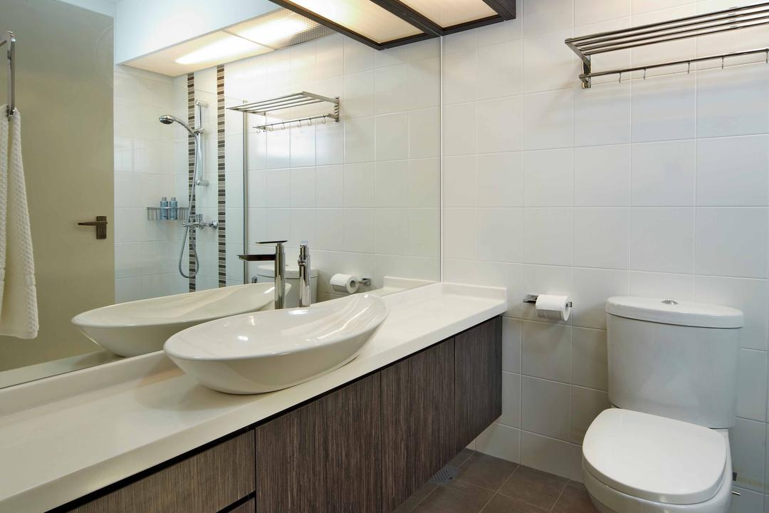 Punggol Drive (Block 615B), i-Chapter, Minimalistic, Bathroom, HDB, Bathroom Vanity, Mirror, Sink, Vessel Sink, Dark Cabinet, Under Cabinet Lighting, Toilet Bowl, Water Closet, Indoors, Interior Design, Room