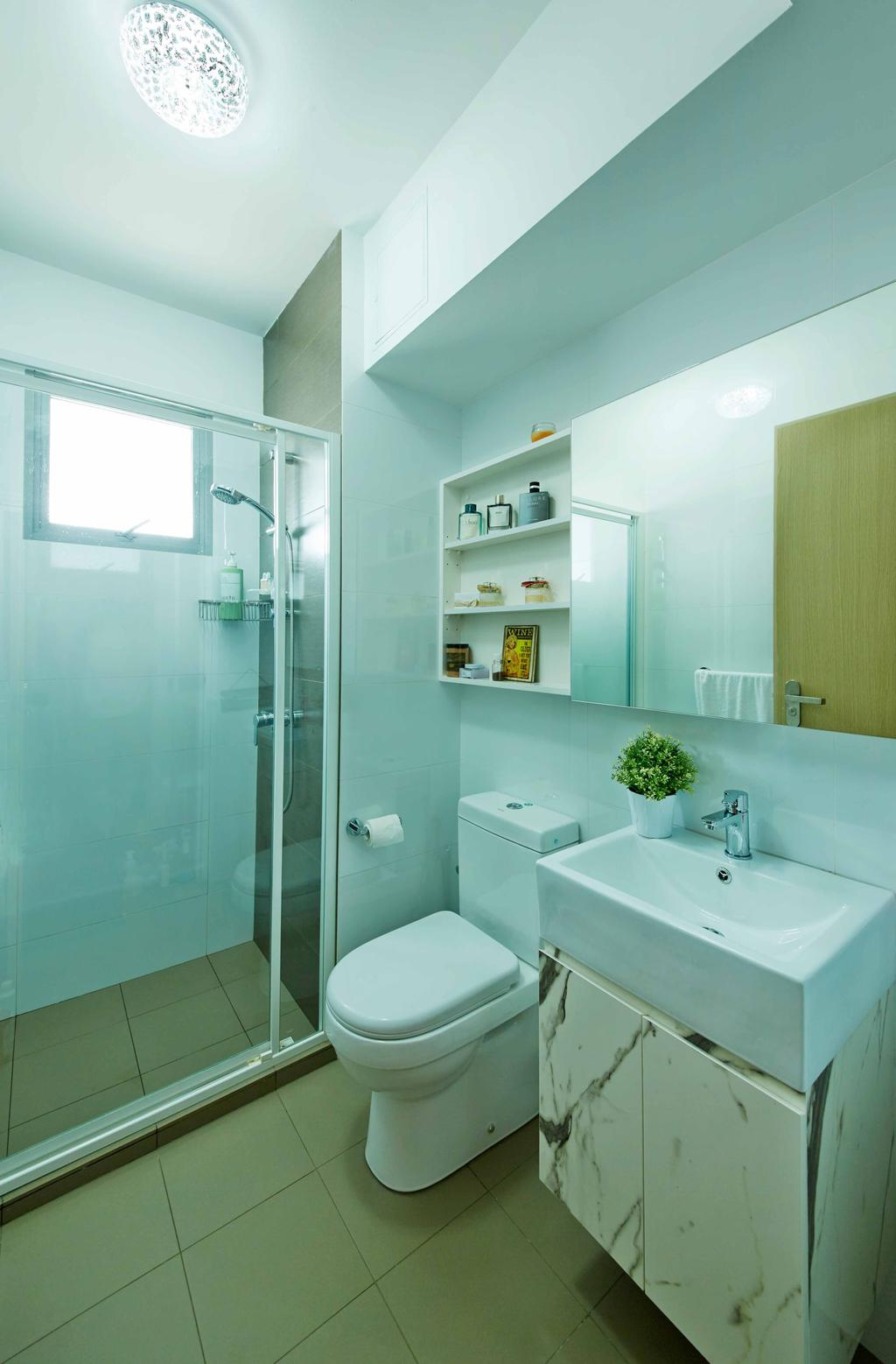 Vintage, HDB, Bathroom, Upper Serangoon Crescent (Block 475D), Interior Designer, i-Chapter, Bathroom Vanity, Mirror, Bathroom Cabinet, Bathroom Shelves, Water Closet, Toilet Bowl, Shower Screen, Indoors, Interior Design, Room