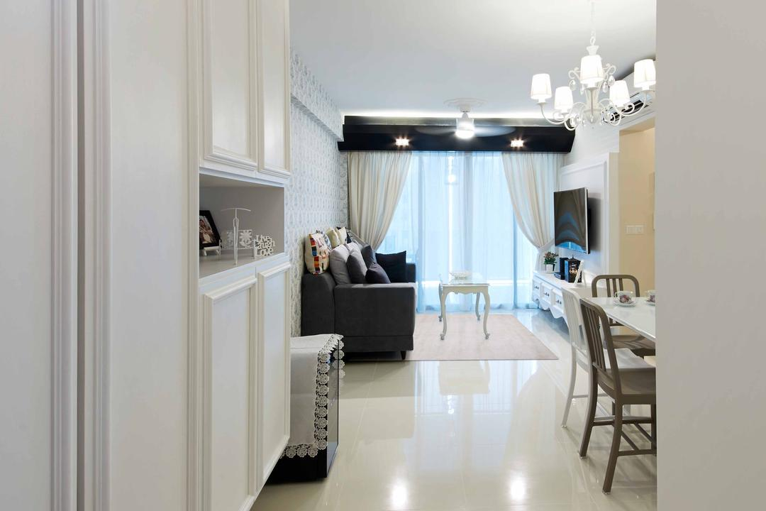 Upper Serangoon Crescent (Block 475D), i-Chapter, Vintage, Living Room, HDB, Walkway, Hallway, White, White Walls, Couch, Furniture, Dining Table, Table, Dining Room, Indoors, Interior Design, Room