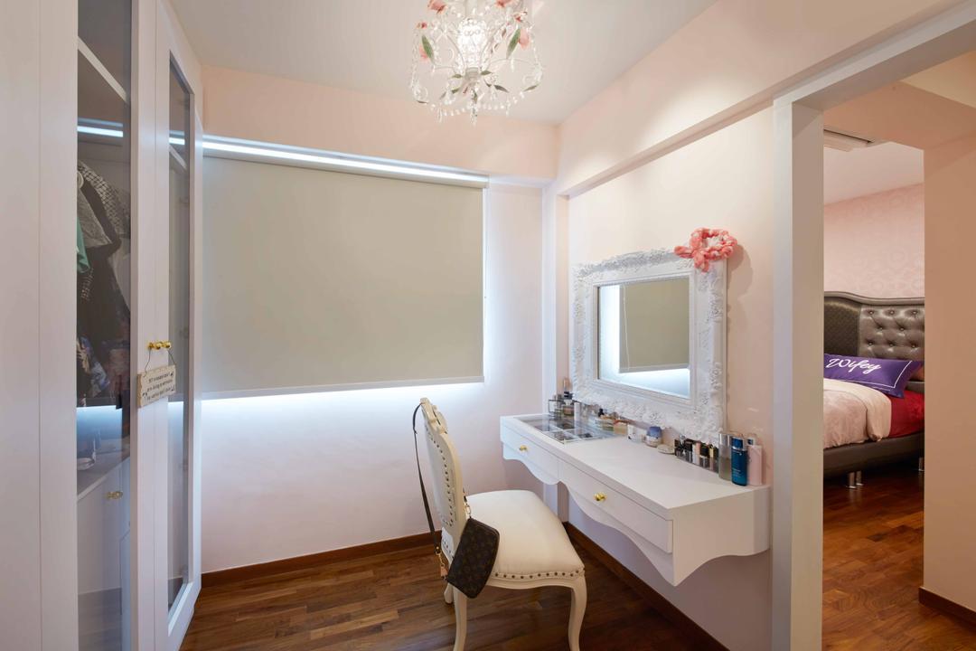 Upper Serangoon Crescent (Block 475D), i-Chapter, Vintage, Bedroom, HDB, Dressing Table, Vanity Table, Mirror, Victorian, Chandelier, Blinds, Roller Blinds, Couch, Furniture, Sink, Chair, Indoors, Interior Design