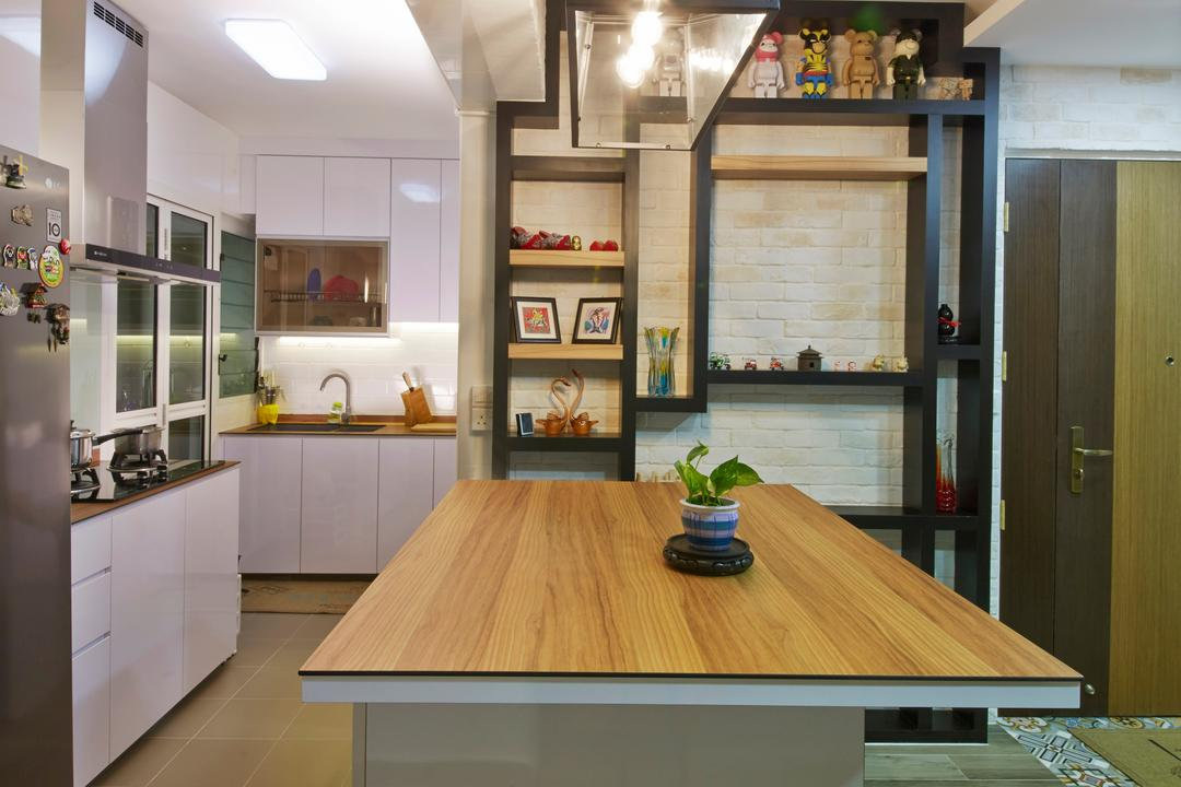 Edgefield Plains (Block 670C), Carpenters 匠, Industrial, Kitchen, HDB, , Kitchen Island, Kitchen Countertop, Kitchen Ledge, Kitchen Cabinetry, Cabinet, White Cabinet, Wall Shelf, Wall Shelves, Shelving, Dining Table, Furniture, Table, Dining Room, Indoors, Interior Design, Room