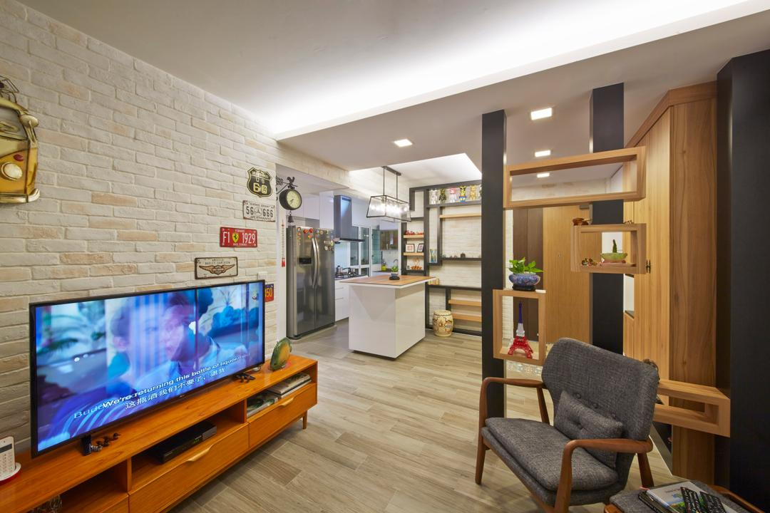 Edgefield Plains (Block 670C), Carpenters 匠, Industrial, Living Room, HDB, Brick Walls, White Brick Walls, Tv Console, Tv Cabinet, Wood Floor, Wooden Flooring, , Partition, Chairs, Cove Lighting, Chair, Furniture, Couch