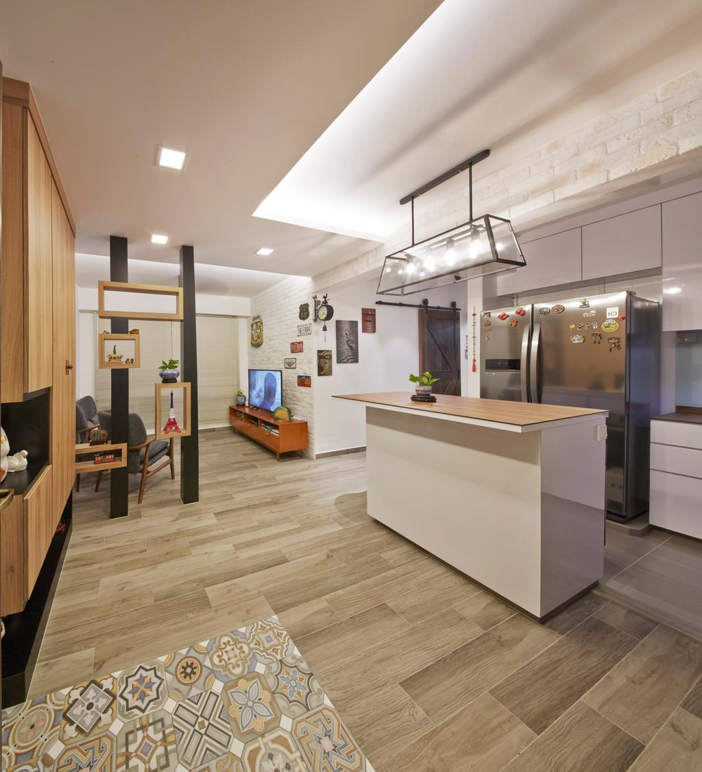 Industrial, HDB, Kitchen, Edgefield Plains (Block 670C), Interior Designer, Carpenters 匠, Flooring, Bench, Shelf, Indoors, Interior Design