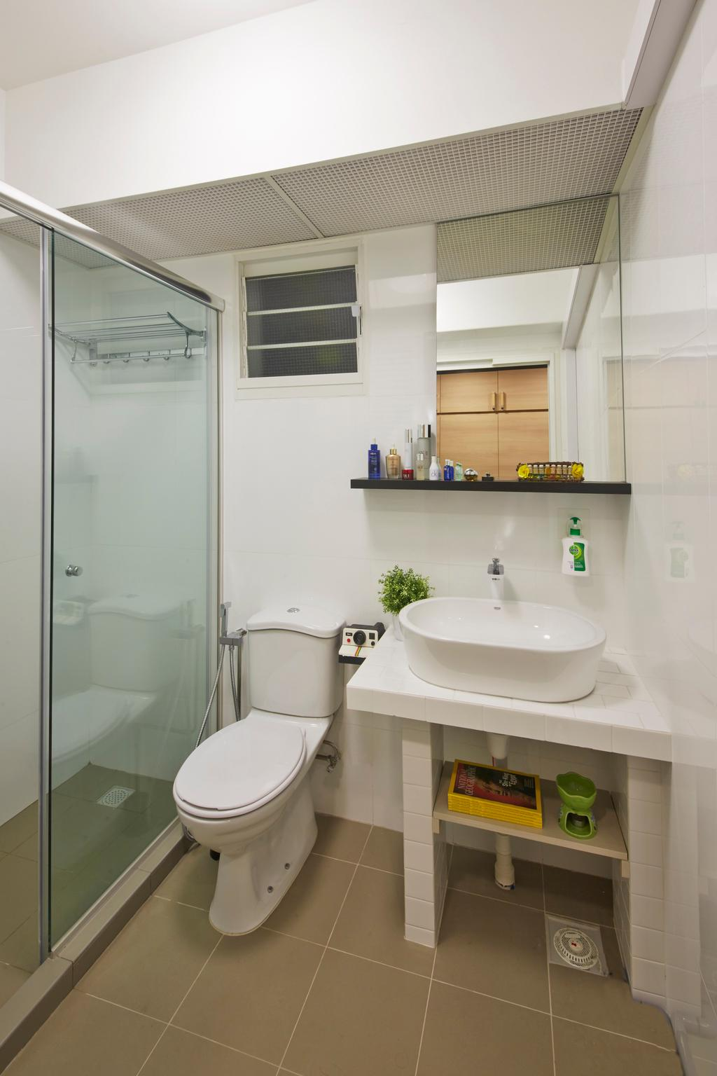 Industrial, HDB, Bathroom, Edgefield Plains (Block 670C), Interior Designer, Carpenters 匠, Toilet Bowl, Water Closet, Bathroom Vanity, Mirror, Vessel Sink, Bathroom Sink, Toilet, Shelf, Indoors, Interior Design, Room