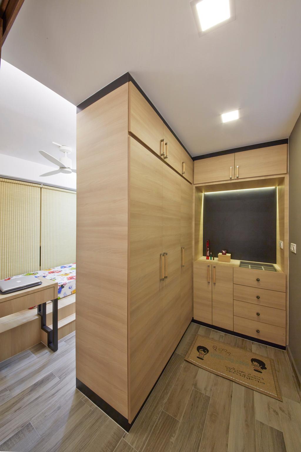 Industrial, HDB, Bedroom, Edgefield Plains (Block 670C), Interior Designer, Carpenters 匠, Wardrobe, Wardrobe As Partition, Carpet, Brown Cabinetry, Dresser, Drawer, Furniture