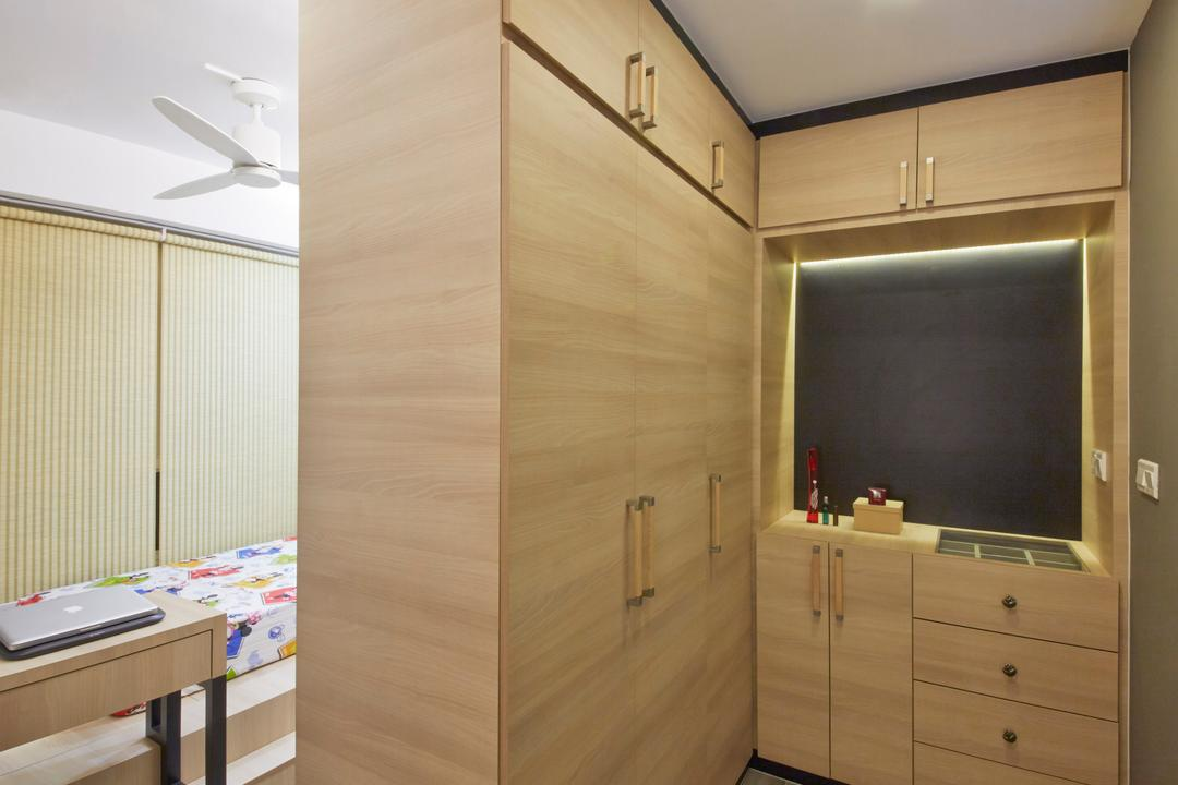 Edgefield Plains (Block 670C), Carpenters 匠, Industrial, Bedroom, HDB, Wardrobe, Wardrobe As Partition, Carpet, Brown Cabinetry, Dresser, Drawer, Furniture