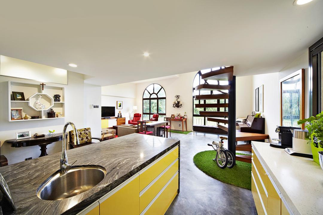 Selataris, Carpenters 匠, Eclectic, Kitchen, Condo, Kitchen Countertop, Marble Countertop, Kitchen Cabinetry, Colourful Cabinet, , Vibrant, Striking Colours, Staircase, Spiral Staircase, Wall Shelf, Shelving, Bicycle, Bike, Transportation, Vehicle, Indoors, Interior Design