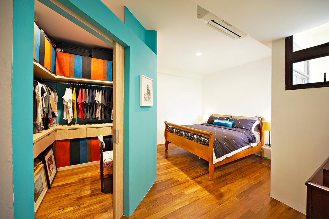 Selataris, Carpenters 匠, Eclectic, Bedroom, Condo, Blue, Blue Walls, Colourful, Colours, Walk In Wardrobe, Vibrant Colours, Cheery, Clothes Rack, Storage Space, Wood Floor, Wood Flooring, Bedframe, Bookcase, Furniture