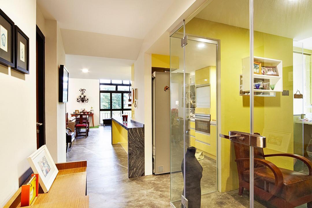 Selataris, Carpenters 匠, Eclectic, Study, Condo, Side Board, Side Cabinet, Cement Flooring, Glass, Glass Door, Glass Partition, Corridor, Hallway, Walkway, Photo Frames, Wall Frames, Banister, Handrail, Flooring