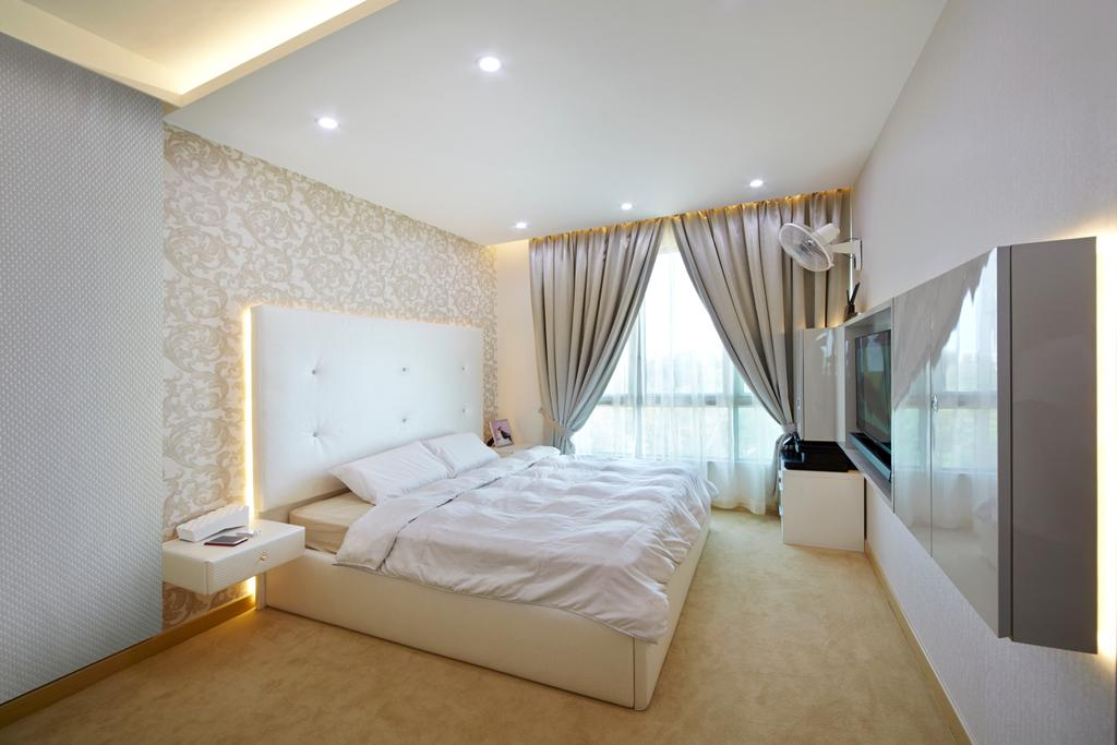Transitional, Condo, Bedroom, Tree House, Interior Designer, Carpenters 匠, White, White Room, White Bed, All White, Elegant, Headboard, Carpet, Cove Lighting, Concealed Lighting, Curtains, Recessed Lighting, Wallpaper, Lame Material, Indoors, Room, Interior Design