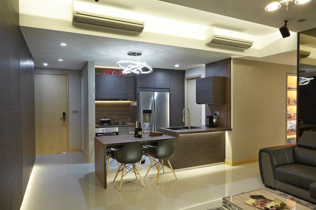 Transitional, Condo, Kitchen, Tree House, Interior Designer, Carpenters 匠, Eames Chair, Cove Lighting, Aircon, Concealed Lighting, False Ceiling, Kitchen Island, Kitchen Cabinetry, Dark Cabinets, Dark Furniture, Door, Entrance, Couch, Furniture, Dining Table, Table, Indoors, Interior Design