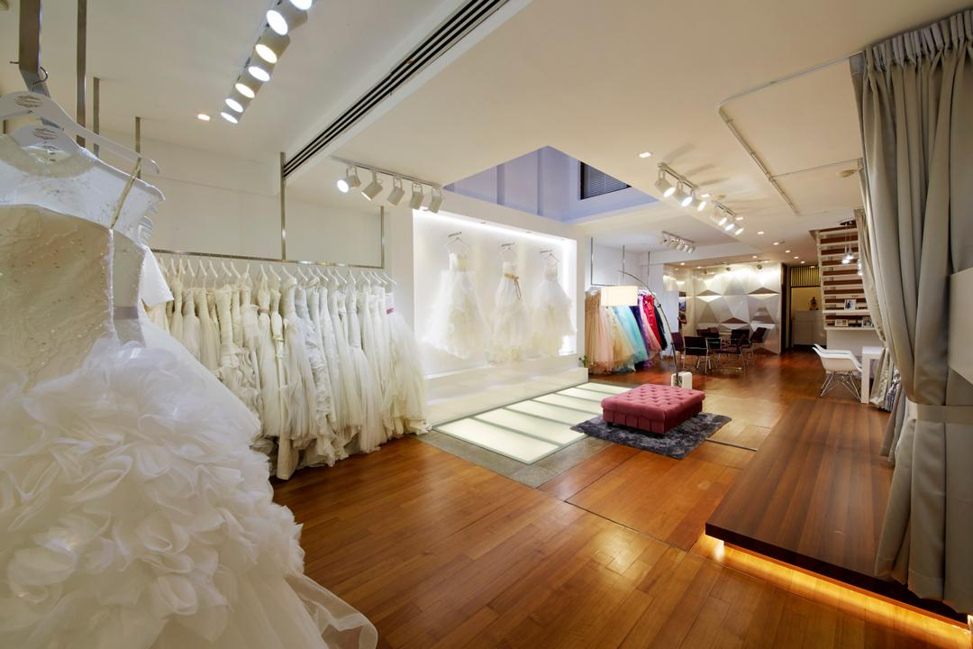 The Lourve Bridal, Carpenters 匠, Modern, Commercial, Wood Floor, Wooden Flooring, Display, Shop, Shop Display, Bridal, Bridal Shop, Platform, Wedding Gowns, Flooring, Indoors, Lobby, Room, Hardwood, Wood, Floor