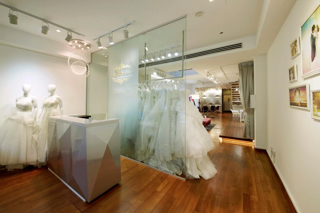 The Lourve Bridal, Carpenters 匠, Modern, Commercial, Bridal, Bridal Shop, Counter, Receptionist, , Reception Area, Glass, Crystal Lights, Photo Frames, Wall Frames, Human, Mannequin, Person, Hardwood, Wood, Floor