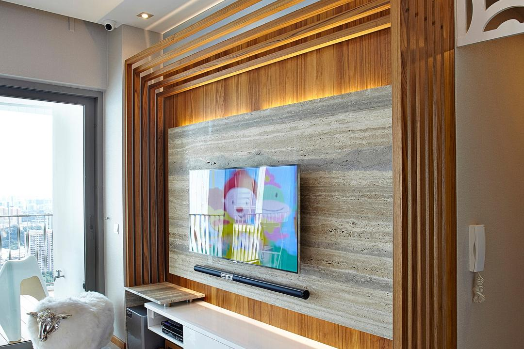 Trevista, Carpenters 匠, Modern, Living Room, Condo, Feature Wall, Wooden Beams, Beams, Tv Console, Floating Console, Curtain, Home Decor, Window, Window Shade