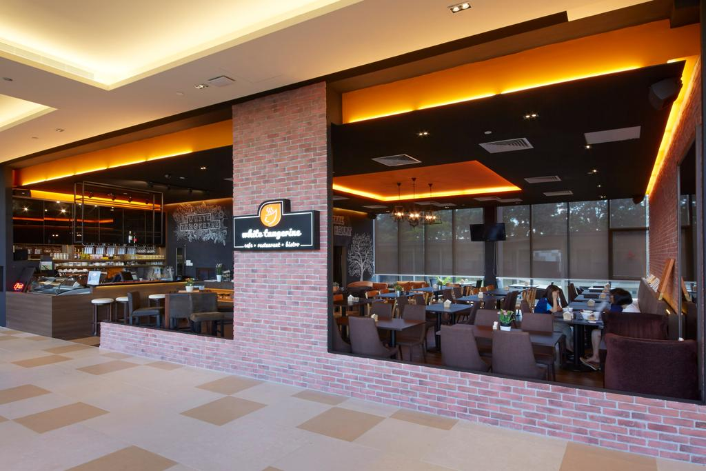 White Tangerine, Commercial, Interior Designer, Carpenters 匠, Contemporary, Brick Walls, Red Brick Walls, Couch, Furniture, Food, Food Court, Restaurant