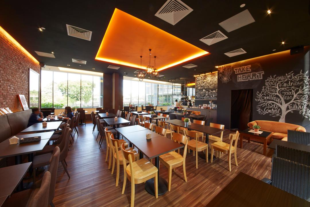 White Tangerine, Carpenters 匠, Contemporary, Commercial, Orange, Yellow, Warm Lighting, Warm Lights, Dining Table, , Wood Floor, Wooden Flooring, Chairs, Yellow Chairs, Woody, False Ceiling, Pendant Lamp, Hanging Lamp, Chalkboard, Restaurant, Furniture, Table, Cafe