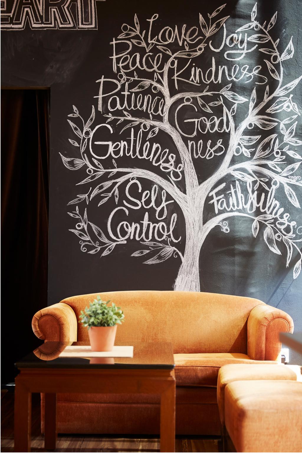 White Tangerine, Commercial, Interior Designer, Carpenters 匠, Contemporary, Couch, , Yellow Sofa, Sofa, Colours, Colourful, Colour Pop, Bright, Cheery, Plant, Plant Decor, Chalkboard, Decor, Ottoman