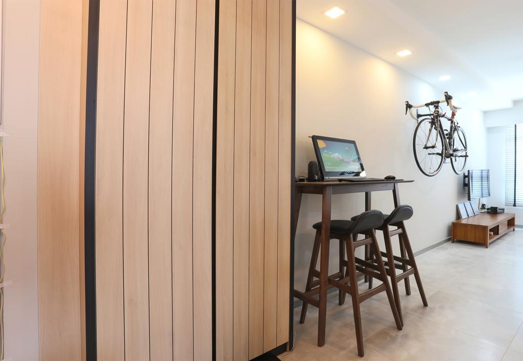 Scandinavian, HDB, Living Room, Choa Chu Kang (Block 490C), Interior Designer, Voila, Cabinet, Cabinetry, Shoe Cabinet, Wood Panels, Bar Stool, Furniture, Chair, Flooring, Bicycle, Bike, Transportation, Vehicle