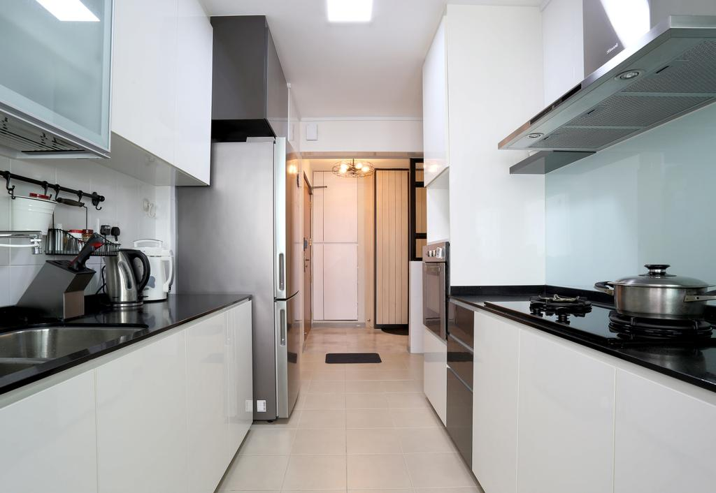 Scandinavian, HDB, Kitchen, Choa Chu Kang (Block 490C), Interior Designer, Voila, Kitchen Countertop, Black Countertop, Kitchen Cabinet, White Cabinet, Cabinetry, Exhaust Hood, Kitchen Rack, Indoors, Interior Design