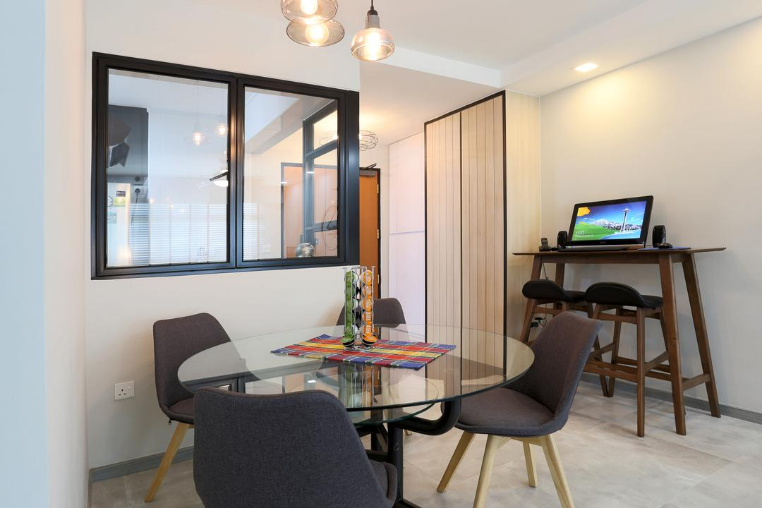Choa Chu Kang (Block 490C), Voila, Scandinavian, Dining Room, HDB, Dining Table, Round Dining Table, Dining Chairs, Black Chairs, Chair, Furniture, Indoors, Interior Design, Room, Couch, Table