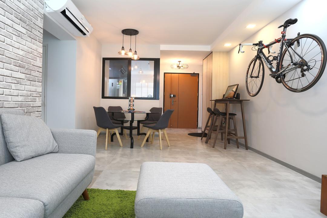 Choa Chu Kang (Block 490C), Voila, Scandinavian, Living Room, HDB, Bicycle Rack, Wall Mounted Bicycle Rack, Door, Entrance, Bicycle, Bike, Transportation, Vehicle, Couch, Furniture, Dining Table, Table, Flooring