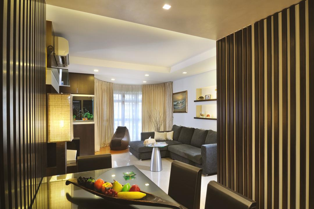Redhill (Block 75C), Innerspace Design Solutions, Traditional, Living Room, HDB, Down Lights, Black Dining Table, Dark Grey Sofa, Indoors, Interior Design, Room, Couch, Furniture, Dining Room
