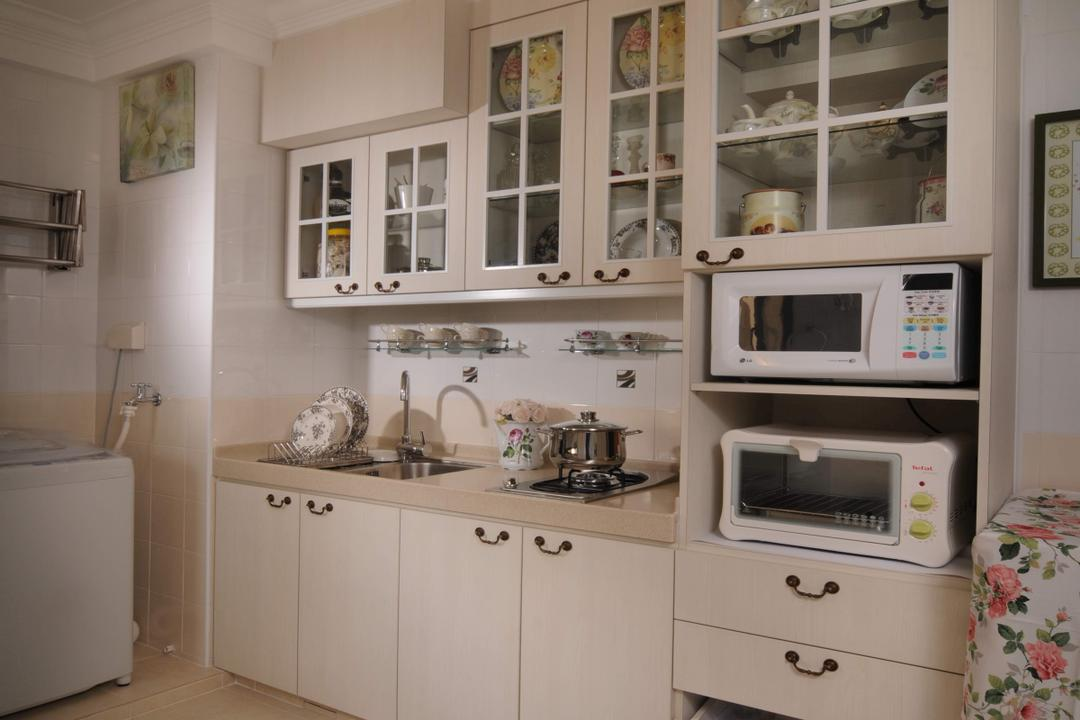 Jalan Membina, Innerspace Design Solutions, Vintage, Kitchen, HDB, White Kitchen, English, White Cabinets, White Drawers, Appliance, Electrical Device, Microwave, Oven, Indoors, Interior Design, Room, Sink