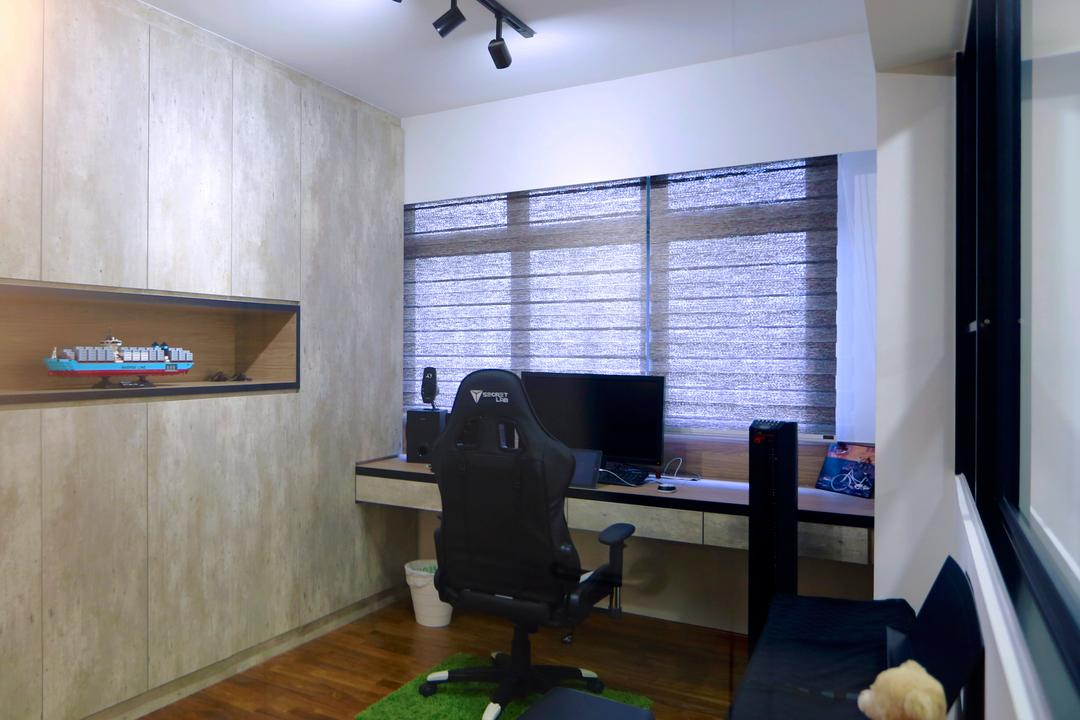 Anchorvale Crescent (Block 336), Voila, Scandinavian, Study, HDB, Office Chair, Study Table, Computer Desk, Work Station, Desktop, Computer, Cement, Recessed Shelf, Chair, Furniture, Building, Housing, Indoors