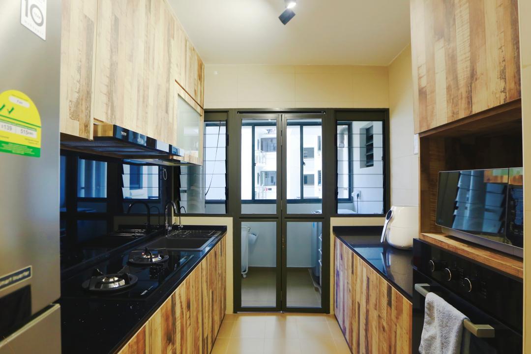 Anchorvale Crescent (Block 336), Voila, Scandinavian, Kitchen, HDB, Kitchen Cabinet, Wood Grain, Black Countertop, Black Kitchen Countertop, Indoors, Interior Design, Room, Appliance, Electrical Device, Oven