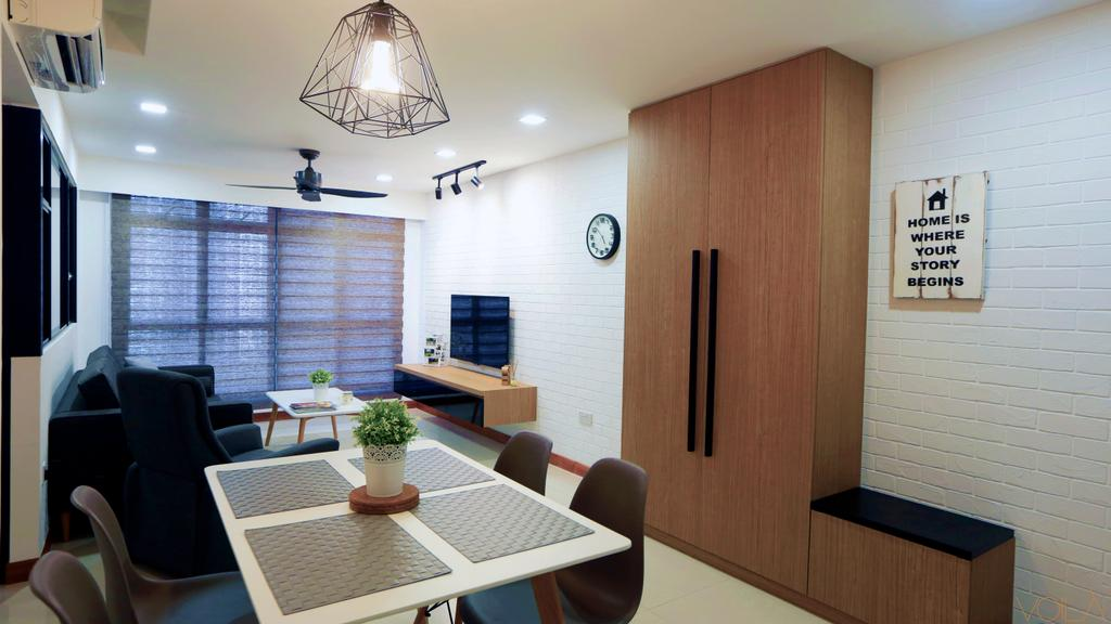 Scandinavian, HDB, Dining Room, Anchorvale Crescent (Block 336), Interior Designer, Voila, Cabinet, Cabinetry, Shoe Cabinet, Bench Cabinet, Bench, Painting, Wall Art, Wall Decor, Indoors, Interior Design, Room, Dining Table, Furniture, Table, Chair, Couch