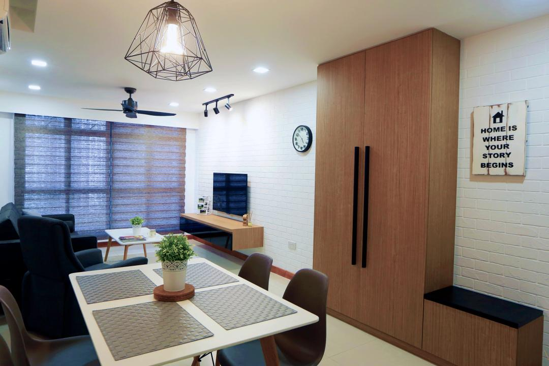 Anchorvale Crescent (Block 336), Voila, Scandinavian, Dining Room, HDB, Cabinet, Cabinetry, Shoe Cabinet, Bench Cabinet, Bench, Painting, Wall Art, Wall Decor, Indoors, Interior Design, Room, Dining Table, Furniture, Table, Chair, Couch