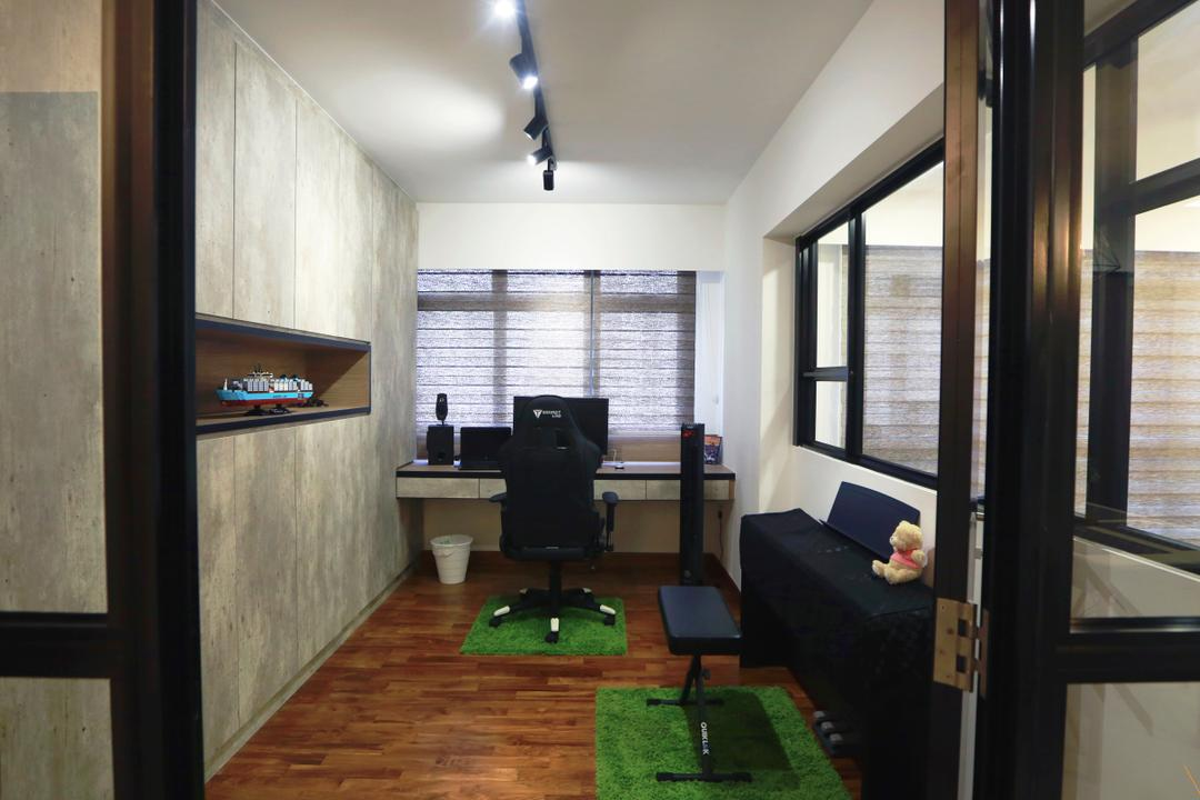 Anchorvale Crescent (Block 336), Voila, Scandinavian, Study, HDB, Keyboard, Door With Black Trims, Black Trims, Couch, Furniture