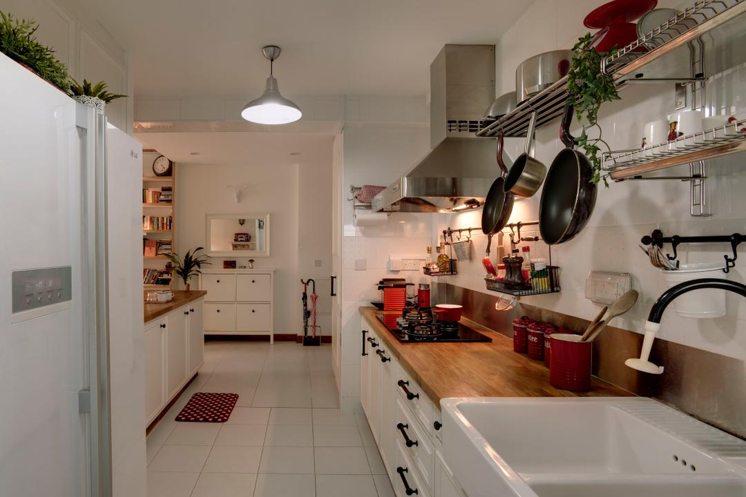 Punggol, The Design Practice, Eclectic, Kitchen, HDB, Linear, Kitchen Counter, Wood Laminate, Wood, Laminate, Exhaust Hood, White, Hanging Light, Lighting, Dish Rack, Drawers, Tile, Tiles, Sink, Building, Housing, Indoors, Flora, Jar, Plant, Potted Plant, Pottery, Vase, Banister, Handrail