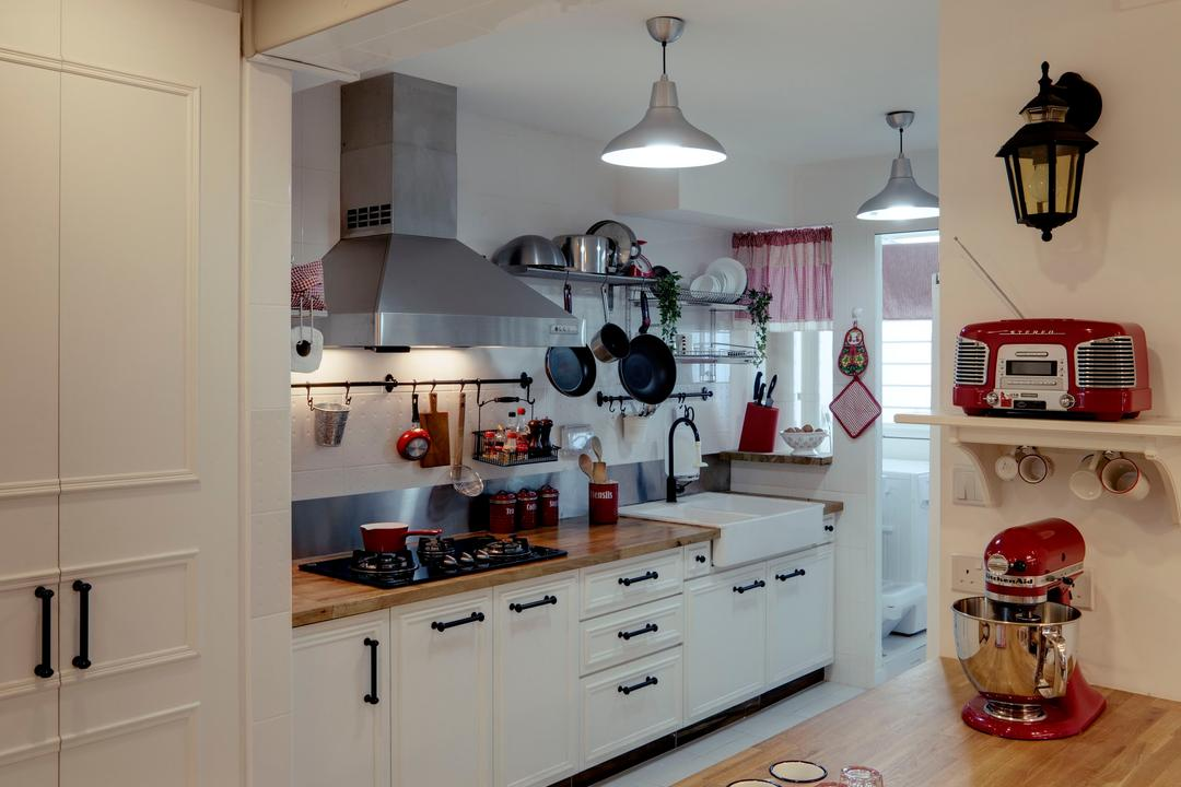 Punggol, The Design Practice, Eclectic, Kitchen, HDB, Kitchen Counter, Wood Laminate, Wood, Laminate, Exhaust Hood, Hanging Light, Lighting, Cabinet, Drawers, Dish Rack, Wall Lamp, Shelf, Linear, Indoors, Interior Design, Room, Radio