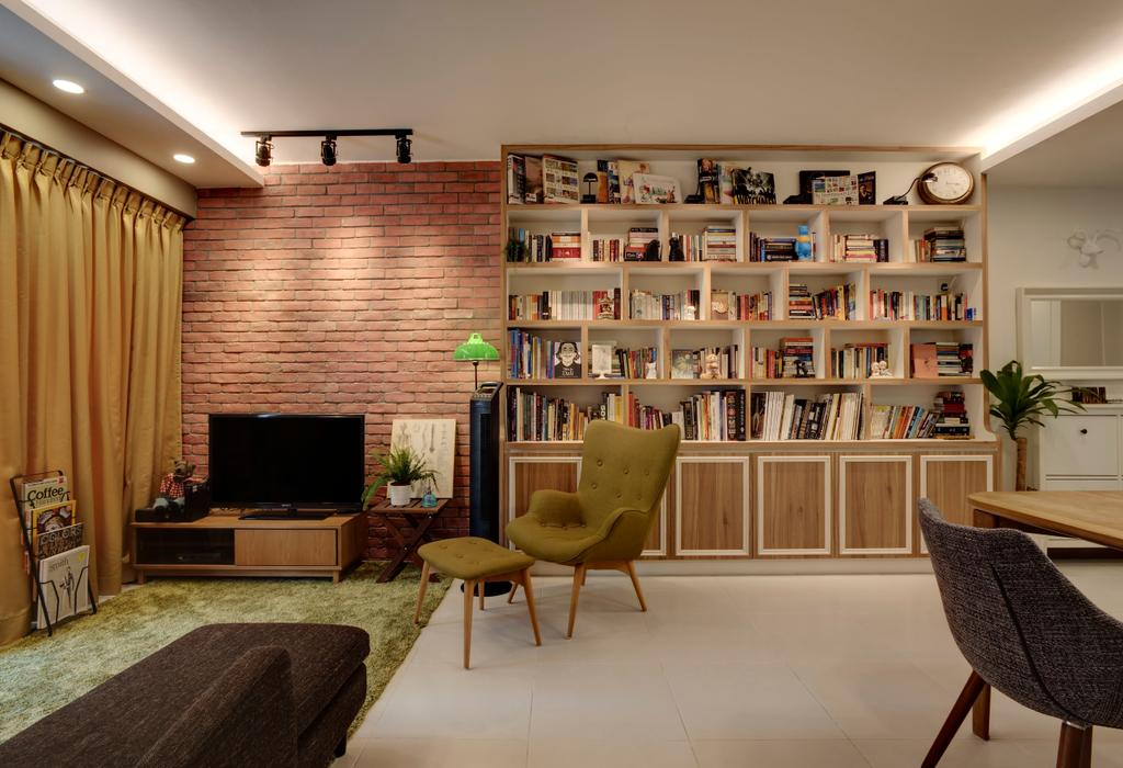 Eclectic, HDB, Living Room, Punggol, Interior Designer, The Design Practice, Object Object, Chair, Furniture, Electronics, Entertainment Center, Home Theater, Indoors, Interior Design