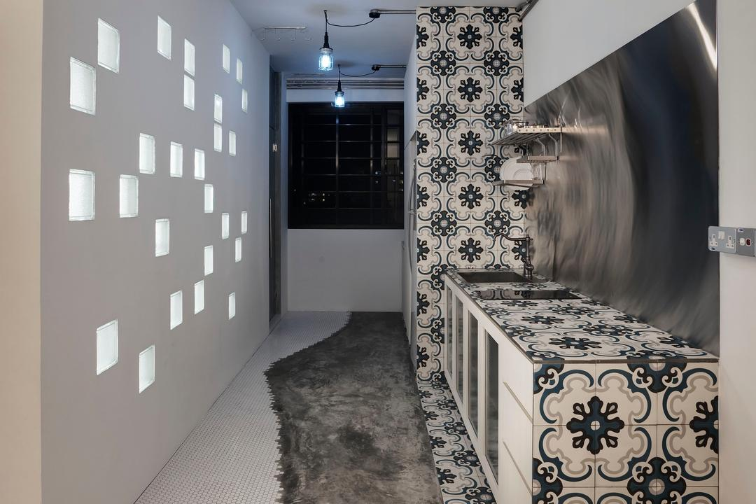 Tampines, The Design Practice, Eclectic, HDB, Tile, Tiles, Floral, Metallic, Cement Flooring, White, Hanging Light, Lighting, Dish Rack