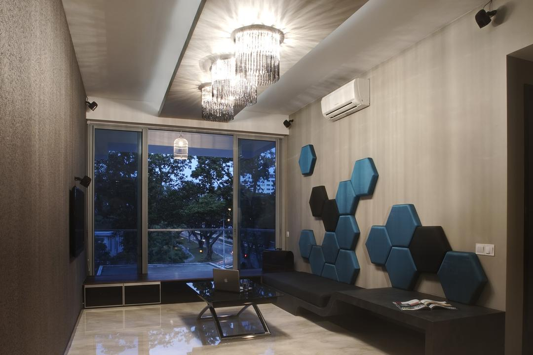 Bleu @ East Coast, The Design Practice, Contemporary, Living Room, Condo, Balcony, Platform, Full Length Windows, Glass Sliding Doors, Feature Wall, Padded, Bench, Chair, Coffee Table, Table, Marble Flooring, Chandelier, Lighting, False Ceiling, Warm Tones, Indoors, Interior Design