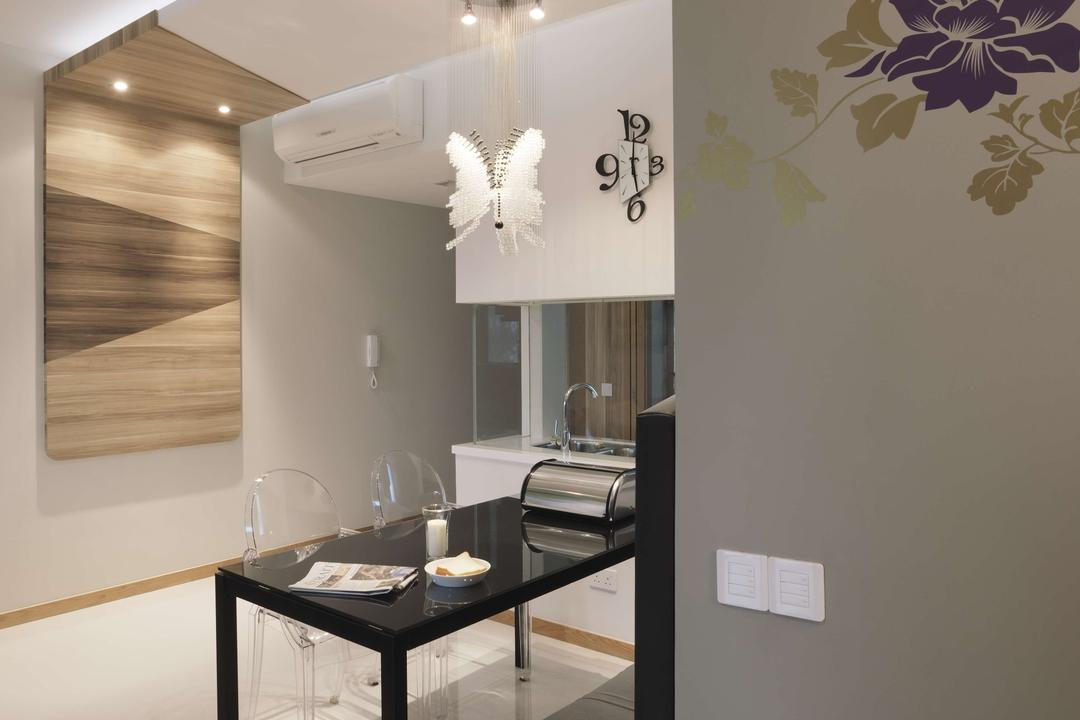 Dakota Crescent, The Design Practice, Contemporary, Dining Room, HDB, Marble Flooring, Dining Table, Table, Chair, Hanging Light, Lighting, Mobile Sculpture, Wood Laminate, Wood, Laminate, False Ceiling, Wall Art, Wall Sticker, Floral, Clock, Indoors, Interior Design, Room, Furniture
