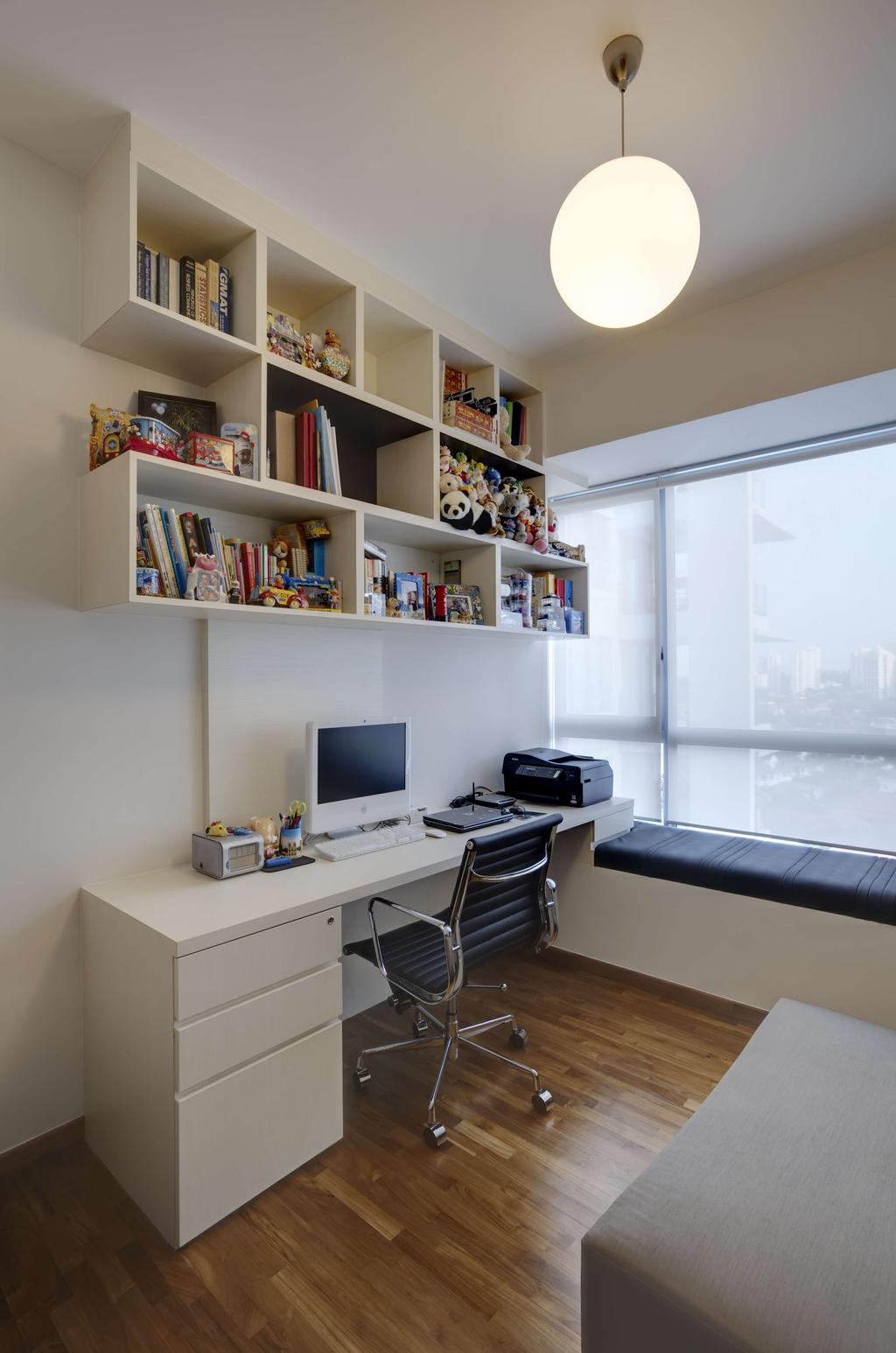 Contemporary, HDB, Study, Dakota Crescent, Interior Designer, The Design Practice, Blinds, Window Seat, Table, Study Table, Parquet, Hanging Light, Pendant Light, Lighting, Chair, Cubbyholes, Display Shelf, Shelf, Shelves, Bookshelf, White, Bay Window, Desk, Furniture, Sink